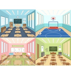 School classrooms and sportroom vector