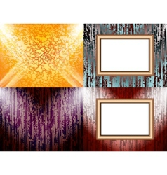 Set of Blank frame on a color wall lighting vector image