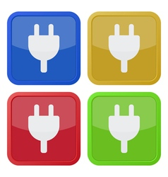 set of four square icons - electrical plug symbol vector image