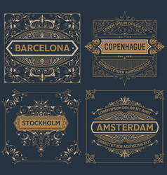 set of four vintage designs vector image vector image