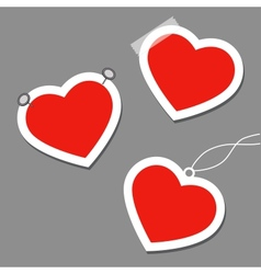 Set of heart tags vector image vector image