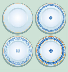 Set of white porcelain plate with blue ornament vector