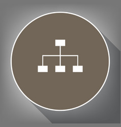 site map sign white icon on brown circle vector image vector image