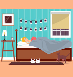 Sleeping young girl flat vector