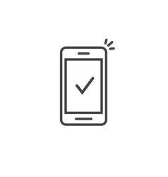 smartphone and checkmark icon line outline vector image