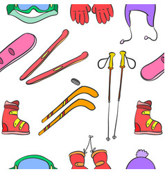 Sport equipment pattern style vector