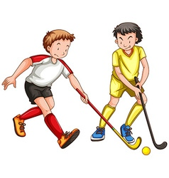 Two men playing ground hockey vector