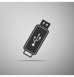 USB flash drive flat icon on grey background vector image