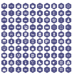 100 villa icons hexagon purple vector