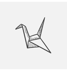 Origami bird sketch icon vector