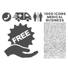 Free Present Icon with 1000 Medical Business vector image