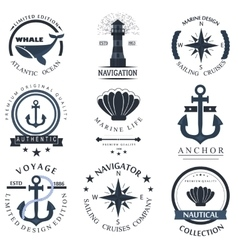 Set of sea and nautical decorations vector