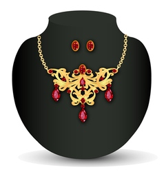 Necklace with red jewels and earrings vector