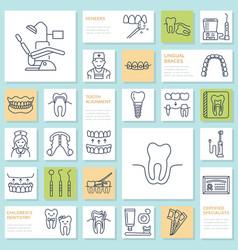 Dentist orthodontics line icons dental care vector