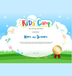 Kids summer camp diploma or certificate with vector