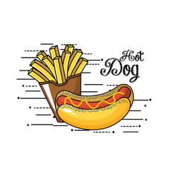 Tasty fries french and hot dog vector