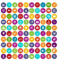 100 on-line seminar icons set color vector