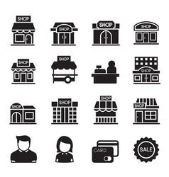 Silhouette shop building icon set vector