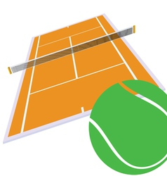 Tennis court and green ball vector