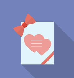 Greeting card with hearts and a bow flat style vector
