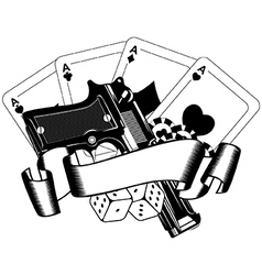 Pistols and playing cards vector