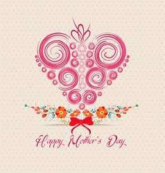 Heart ornament background mothers day greeting vector