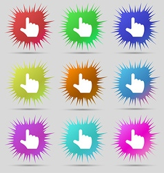 Pointing hand icon sign a set of nine original vector
