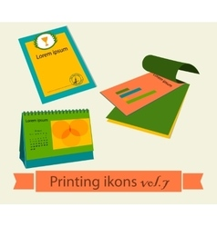 Print icons set7 vector