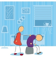 Women uncourge her husband in room vector image