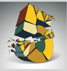 Abstract low poly wrecked number 5 with black vector