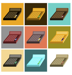 Assembly of flat icons economy calculator vector