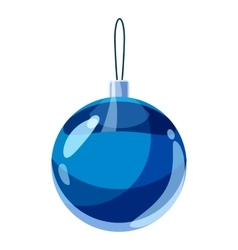 Blue christmas ball icon cartoon style vector image