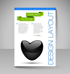 Brochure design template with valentines heart vector