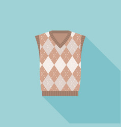 brown argyle male knitted vest icon vector image vector image