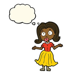 Cartoon confused girl with thought bubble vector