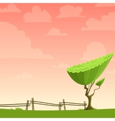 Cartoon nature background with a tree vector