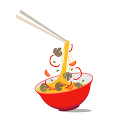 cartoon noodle soup in chinese bowl vector image
