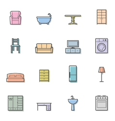 Colorfull home furniture isolated icons set vector image vector image