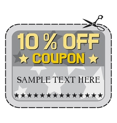 Coupon sale -ten percent discount vector image vector image