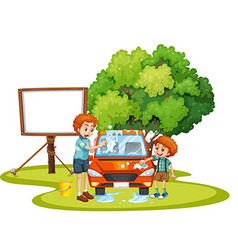 Dad and son washing car on the lawn vector image vector image