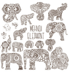 Elephants in the style of mehendi vector