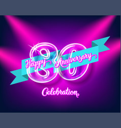 happy 80th anniversary glass bulb numbers set vector image