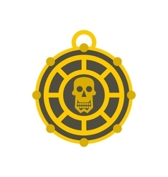 Human skull aztec medallion icon flat style vector