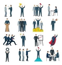 Leadership Flat Color Icons vector image