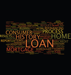 Loan process steps text background word cloud vector