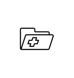 Medical patient history record folder icon on vector
