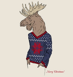Moose dressed up in jacquard pullover merry vector