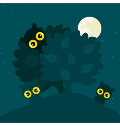 owls hide behind a tree at night a vector image vector image