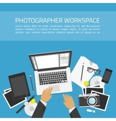 Photographer workspace concept vector
