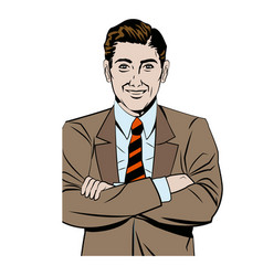 Pop art man business crossed arms vector